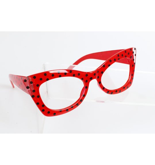 Party bril met bolletjes Dotty rood